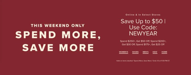 Hudson's Bay Canada Spend More Save More Canadian New Year Deals - Glossense