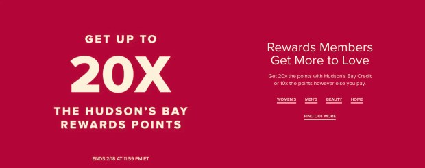 Hudson's Bay Canada 20x Points Event Canadian Valentine's Day Deals 2021 - Glossense