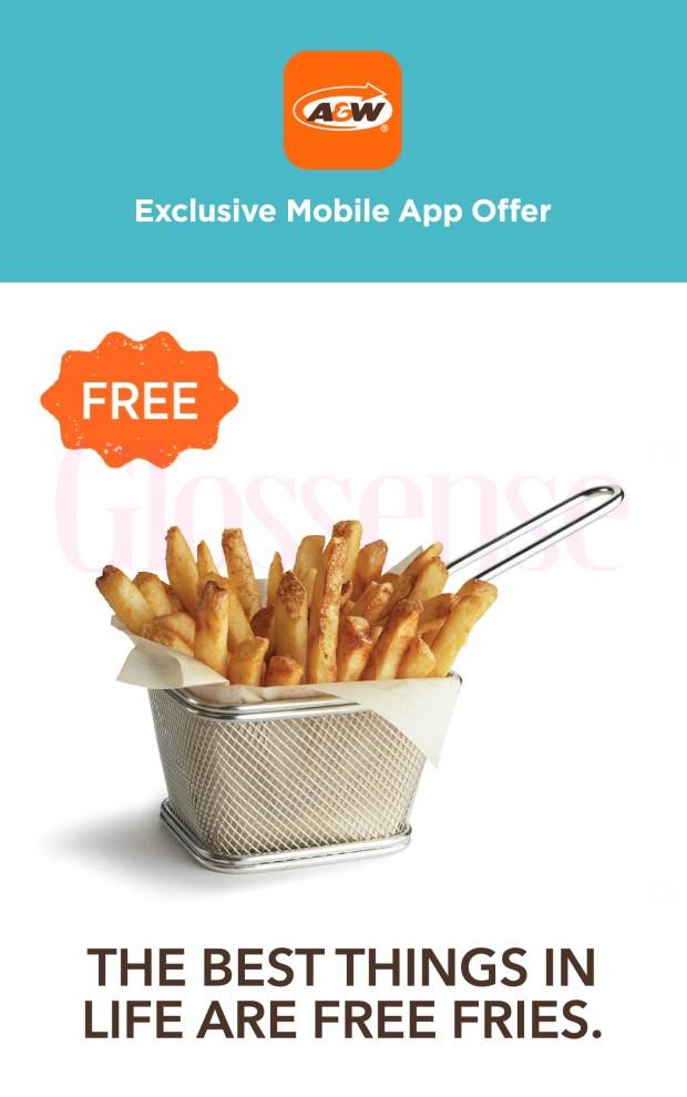 A and W Canada Canadian Freebies Free Fries 2021 - Glossense