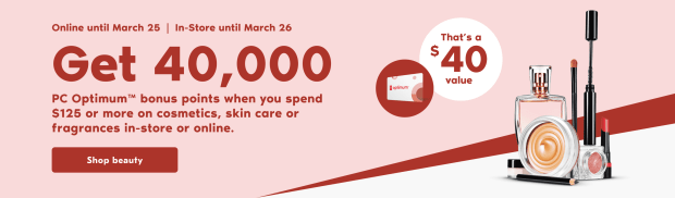 Shoppers Drug Mart Canada PC Optimum Points Offer 40000 March 22 26 2021 - Glossense