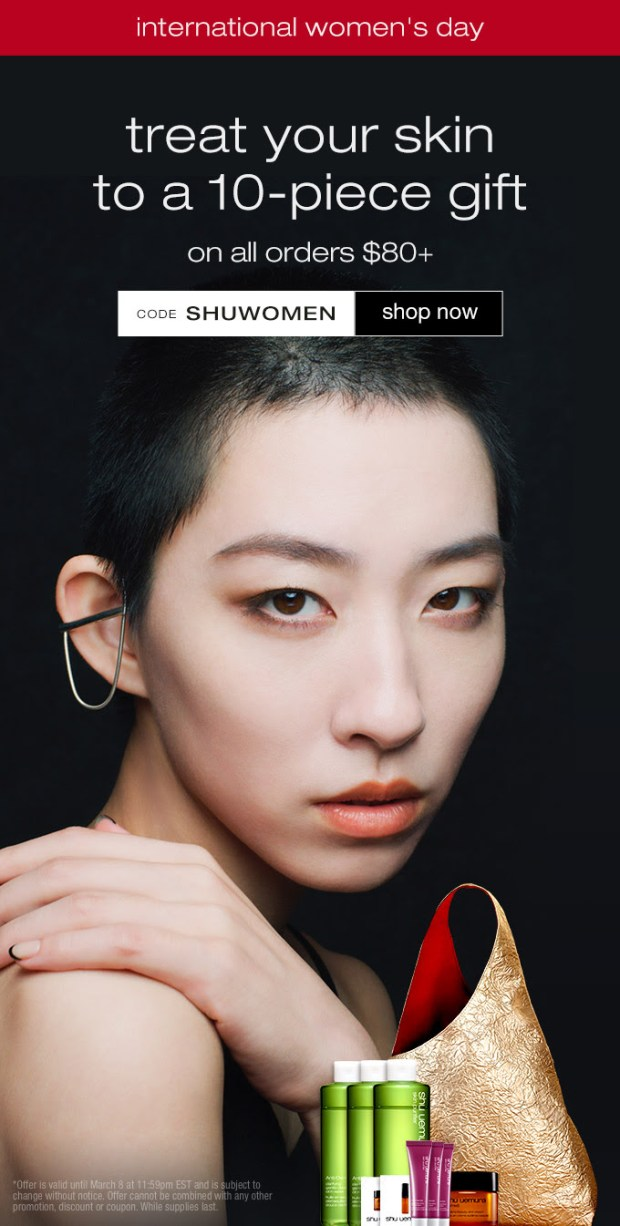 Shu Uemura Canada International Women's Day Gift Canadian Coupon Code 2021 - Glossense