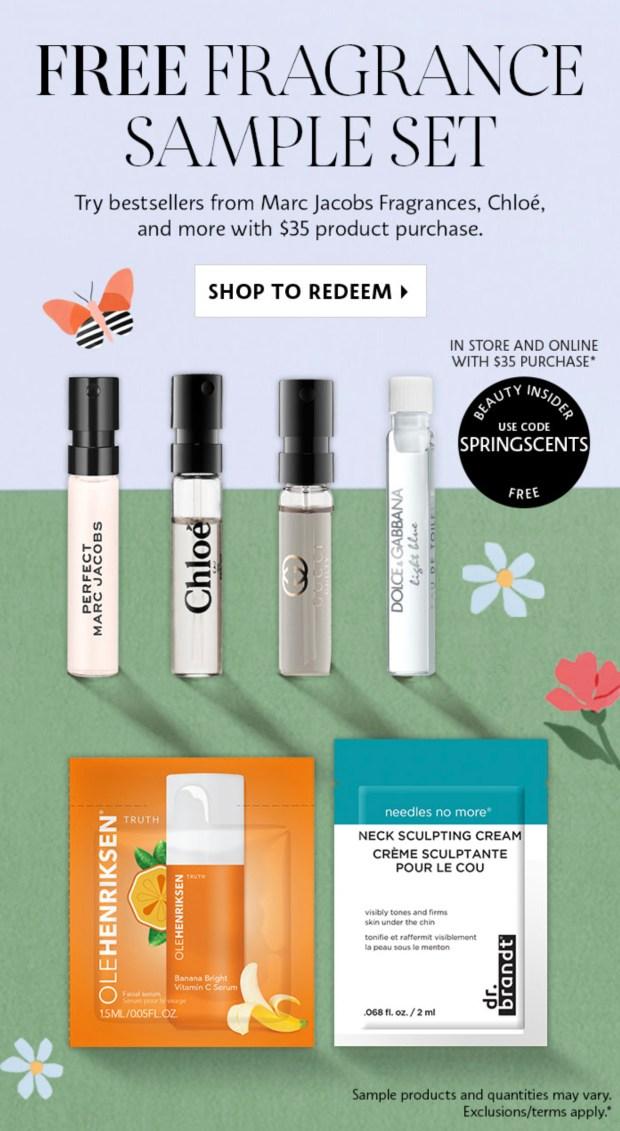 Sephora Canada Free Spring Fragrance Sample Set Bonus Skincare Samples 2021 - Glossense