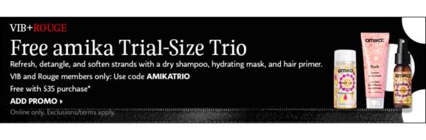 Sephora Canada VIB Rouge April 2021 Gift Free Amika Sample Set - Glossense
