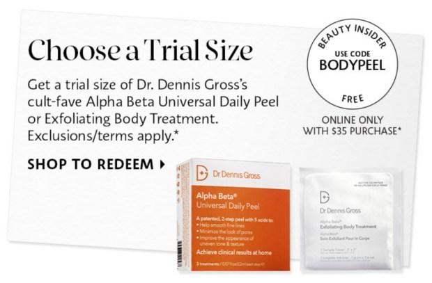 Sephora Canada Promo Code Free Dr Dennis Gross Skincare Body Peel Sample - Glossense