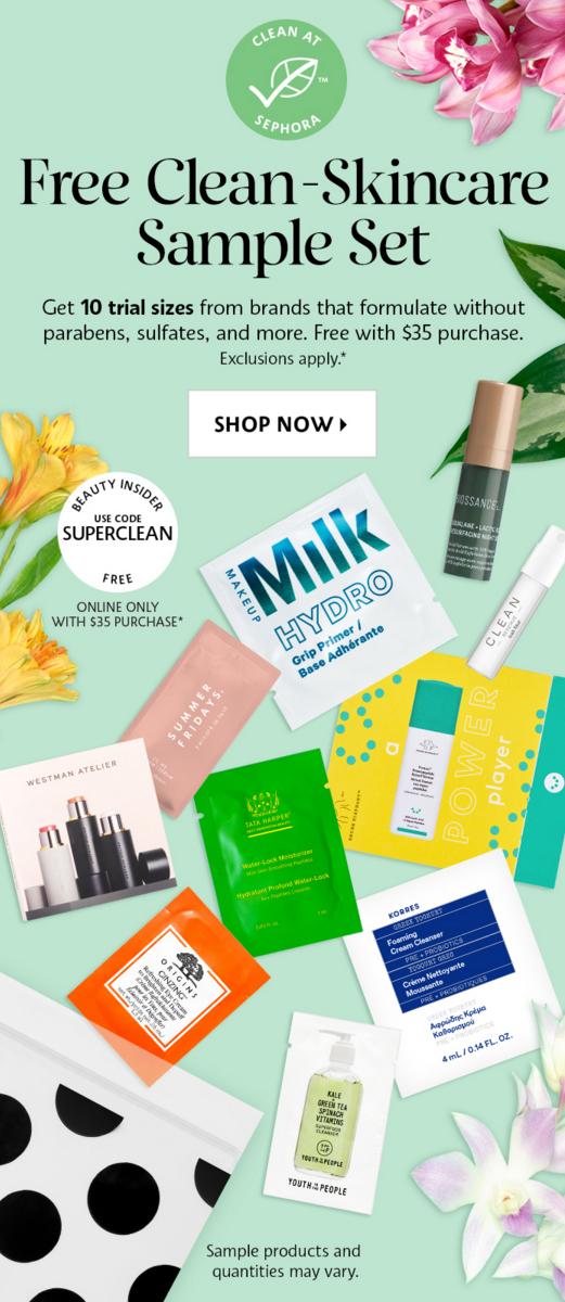 Sephora Canada Promo Code Free Clean Skincare Sample Set July August 2021 - Glossense