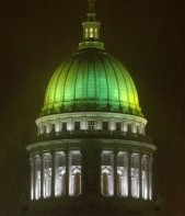 The Wisconsin state capitol shows its Packer pride