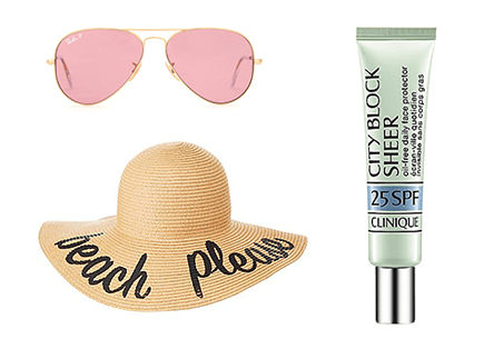 sunscreen hat sunglasses