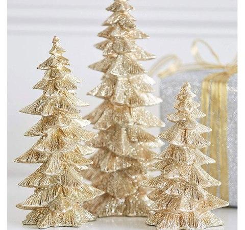 gold glitter christmas trees