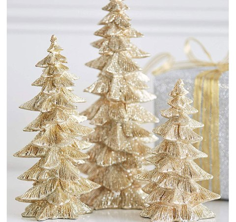 gold glitter christmas trees