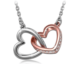 interlacing double heart necklace