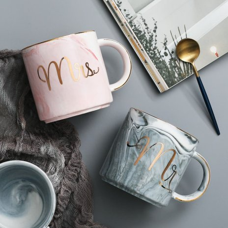 mr and mrs matching ceramic mug set