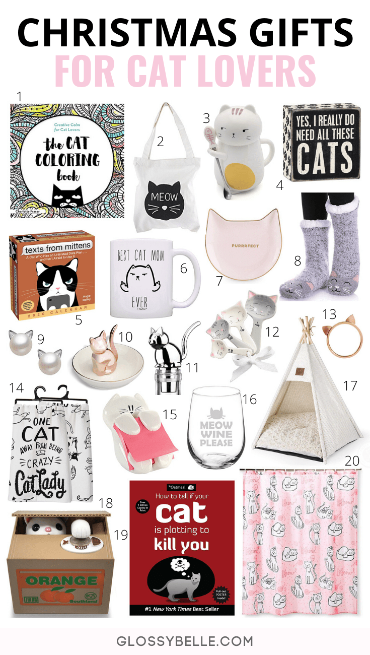 If you're looking for the purr-fect gifts for friends and family who love cats, here is the ultimate gift guide for the best Christmas gifts for cat lovers. | holiday gift guide | cat lover | kitty lover | cat people | cat owners | cat presents | cat jewelry | cat mama | cat mom | cat gifts for cat lovers | best gifts for cat lovers | presents for cat lovers | fun gifts for cat lovers #giftguide #christmasgifts #giftideas #holidaygifts #catlovers #cats #kitty #catgifts #giftsforcatlovers