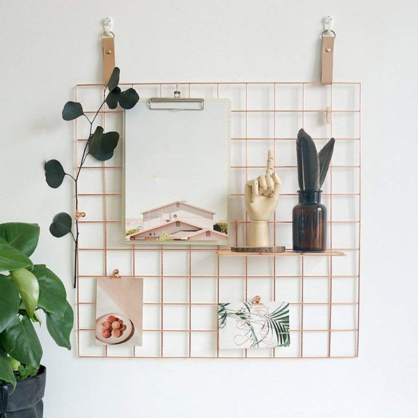 wall grid panel in rose gold