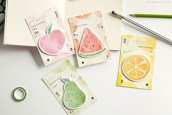 fruits sticky note pad