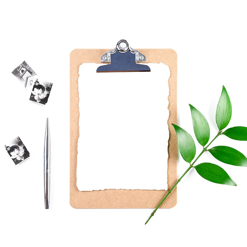 clipboard with a plant