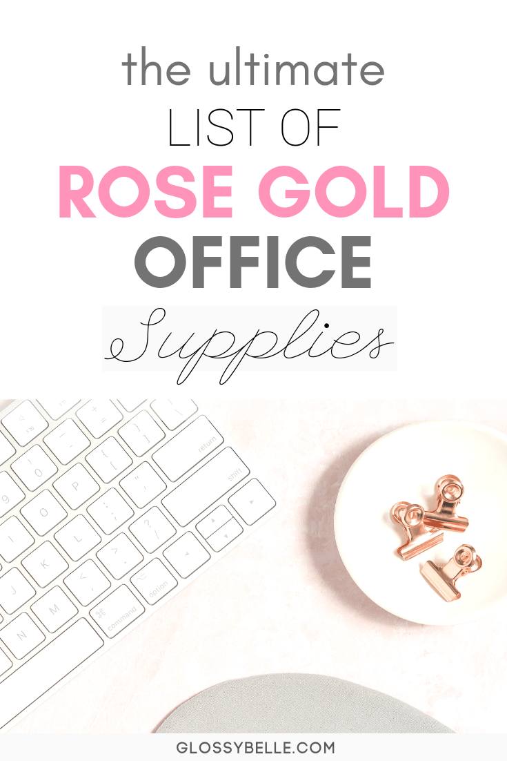 Looking to add some glitz and glam to your home office or your work desk? You'll definitely want to check out my ultimate list of rose gold office supplies & desk accessories to create a feminine work space. | glamorous | acrylic | pretty things | rose gold supplies | rose gold desk decor | work desk decor | cubicle | girlboss | inspiration #workspace #homeoffice #decorideas #officedecor #rosegold #officesupplies #desk #organization