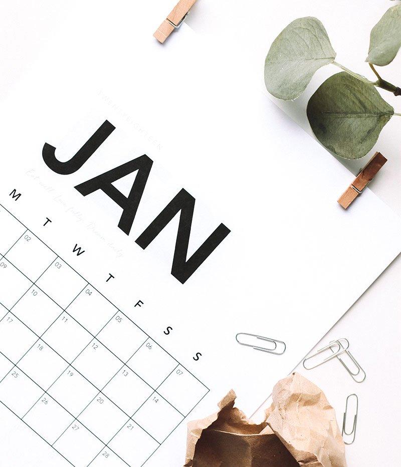 calendar with clips