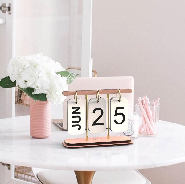 hanging metal and wood rose gold calendar