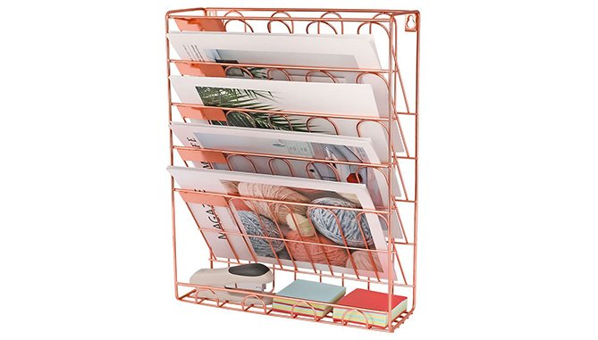 rose gold hanging file organizer