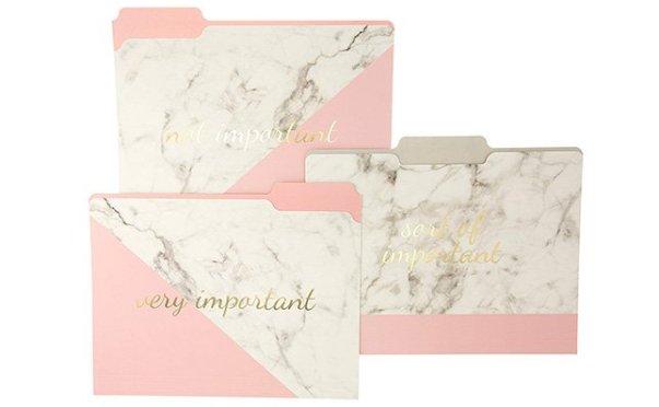 rose gold marble folders