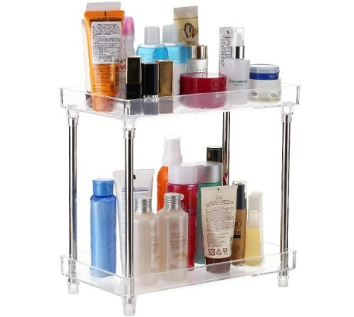 Decdeal Multi-functional 2-Tier Cosmetic Organizer Tray Storage Shelf Caddy Stand