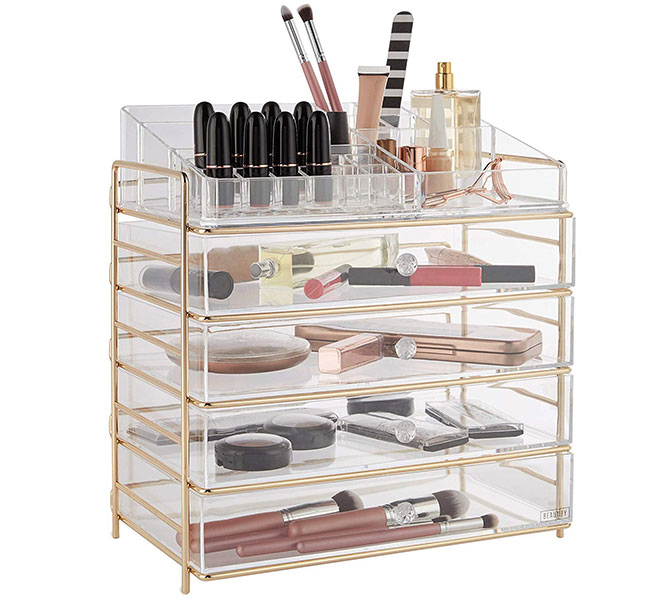 beautify 5-tier clear acrrylic cosmetic makeup storage cube