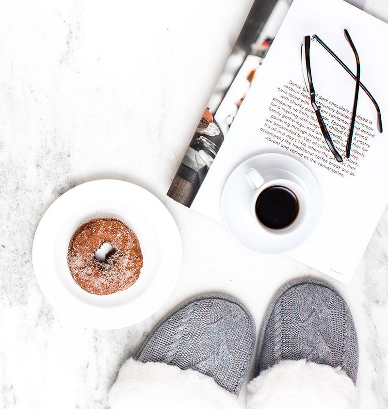 slippers with coffee and glasses
