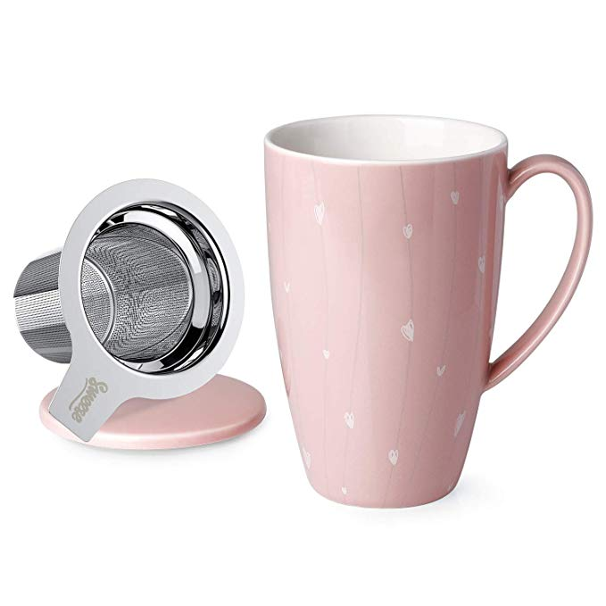 Porcelain Tea Mug with Infuser and Lid