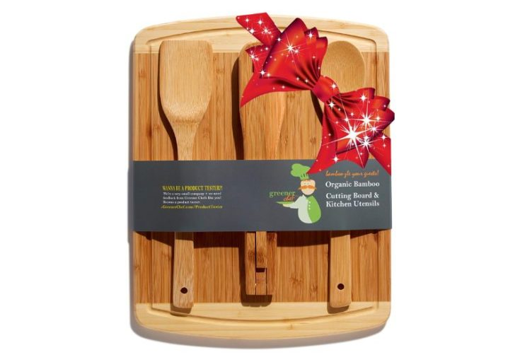 Bamboo Cutting Board & Cooking Utensil Set