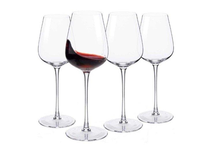 Hand Blown Italian Style Crystal Bordeaux Wine Glasses