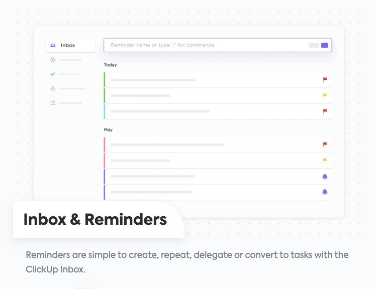 clickup features - inbox and reminders