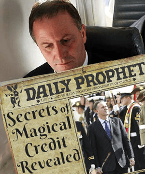 """Credit Conjurer: Ex-Wall Street & London banker, John Key, as New Zealand's prime minister uses his Money Tree Wand to borrow $300m a week from a """"foreign pixie"""" to keep the economy 'solvent'."""