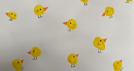 fingerprint chick, Easter finger painting, preschool Easter card, kindergarten easter card, toddler Easter card