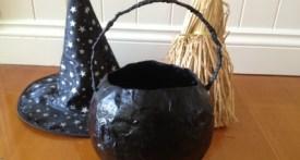 paper mache witches cauldron, witch costume accessories, make a witch cauldron