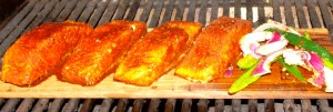 I add a few sliced red onions and poblano peppers if there is room left on the cedar plank.