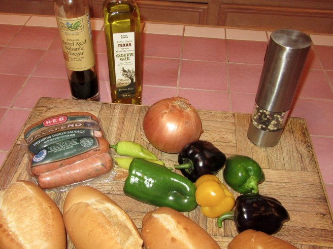 Simple Ingredients for Sausage and Peppers