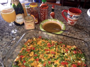We had a spicy egg and sausage casserole for New Year's Brunch in 2015, complimented by mimosas.