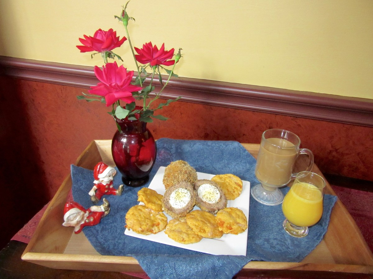 Scotch Eggs with Sweet Potato Biscuits