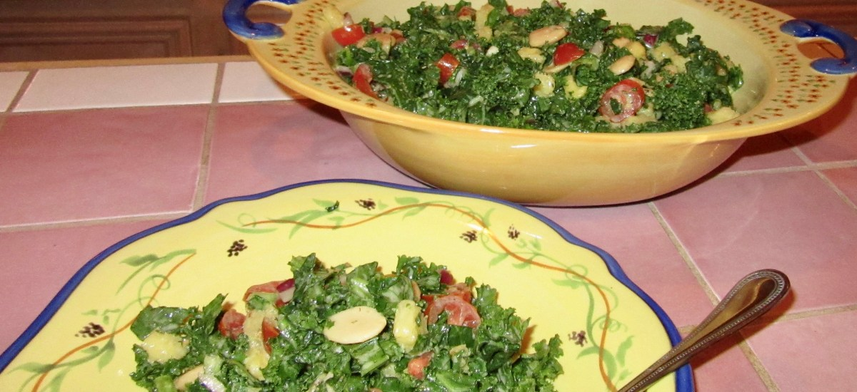 5 Flavors Kale and Nut Butter Salad with Pineapple, Almonds and Tomatoes