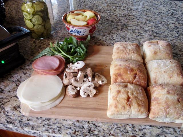 Canadian Bacon, Provolone and Mushroom Paninis