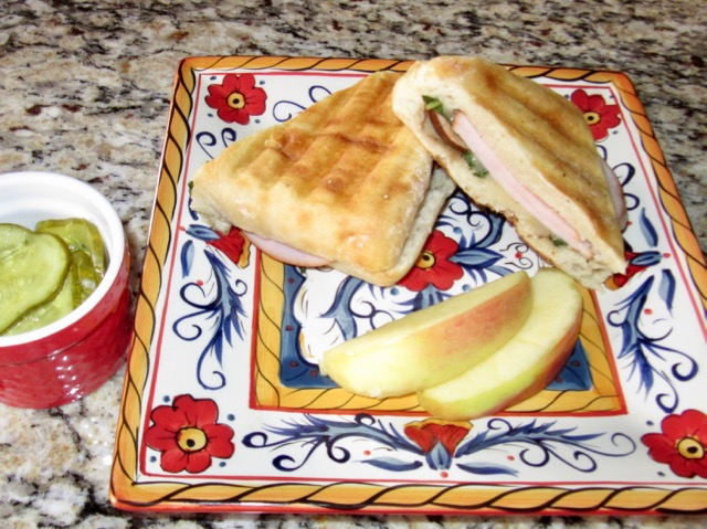 Canadian Bacon, Provolone and Mushroom Panini