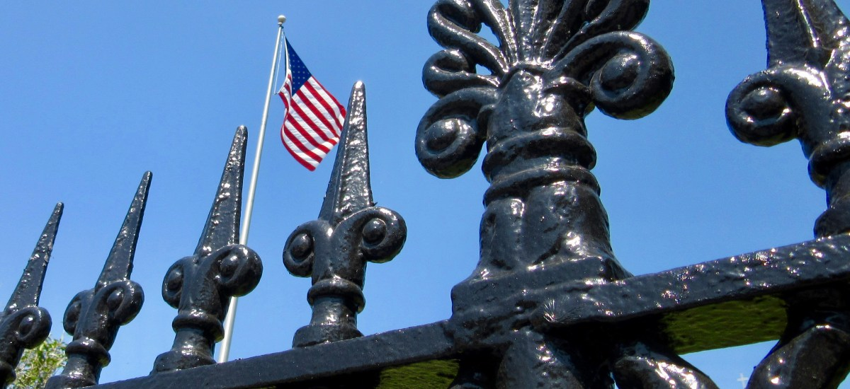 Visual Haiku for Memorial Day: Fence, Flag and Sky