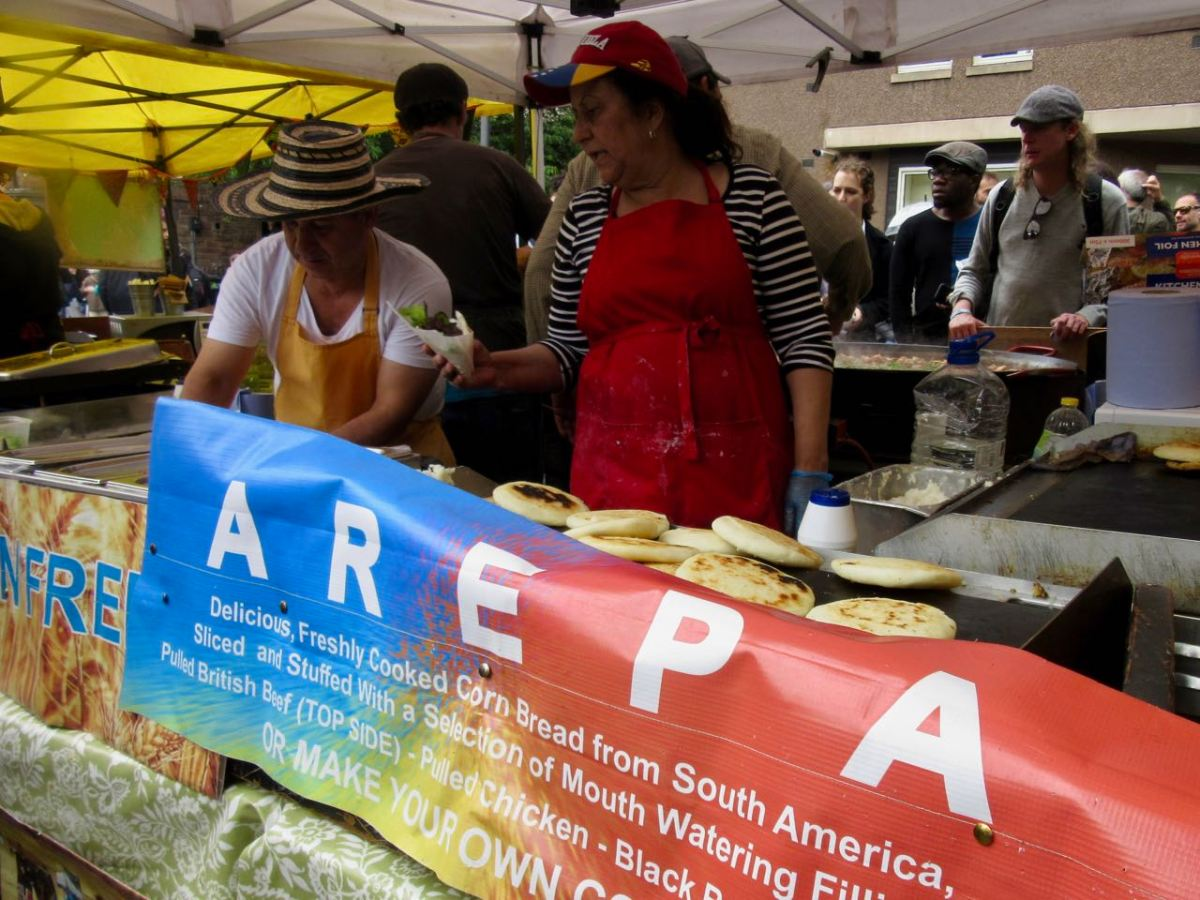 Arepas Vendors and Sign