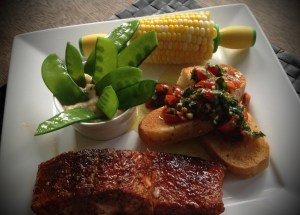 Salmon, Corn, Bruschetta and Snow Peas