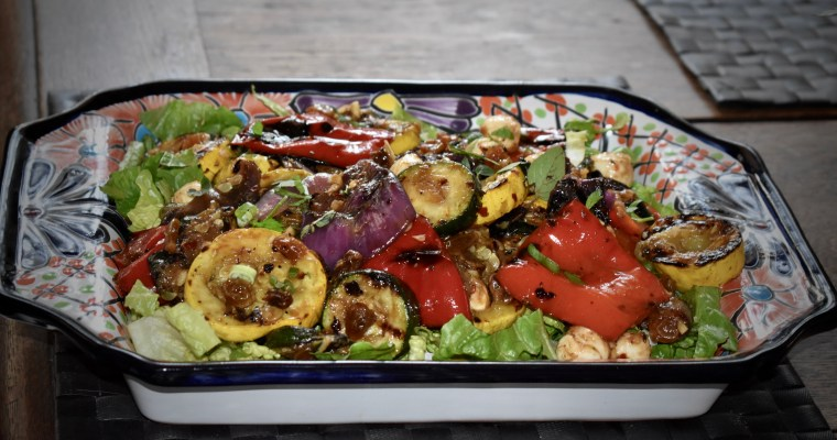 "The ""Eat More Vegetables"" Campaign: Grilled Vegetable Salad with Mozzarella and Golden Raisins"