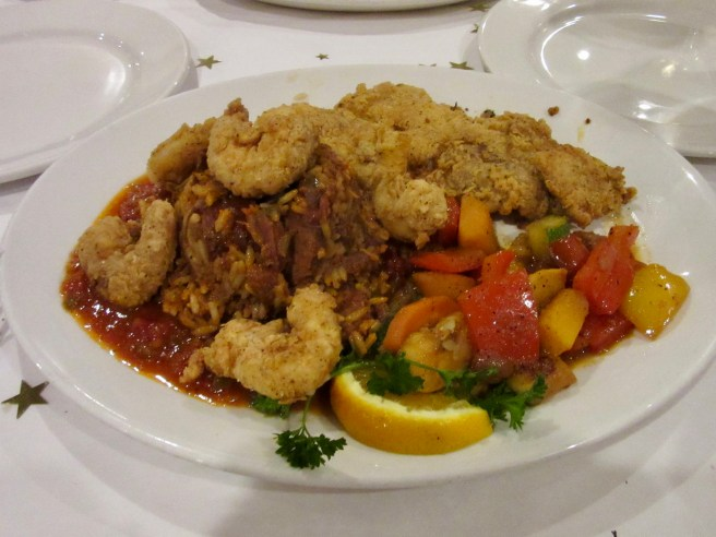 Pan-Fried Flounder with Shrimp and Chartres St Jambalaya