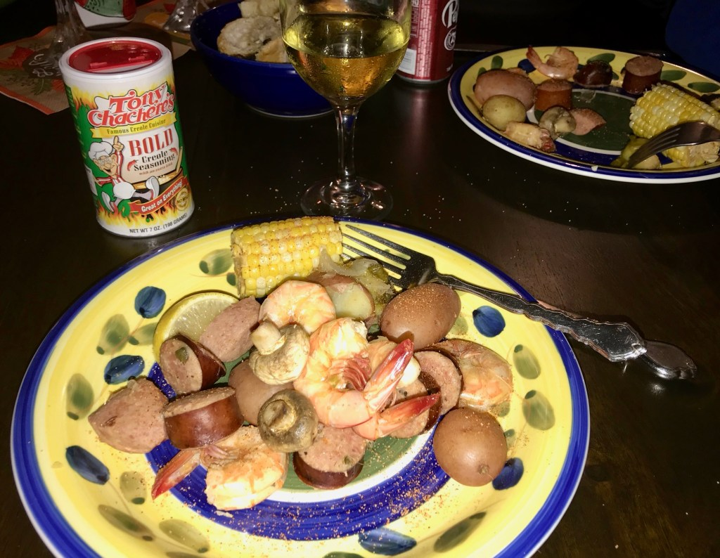 Shrimp boil on the table