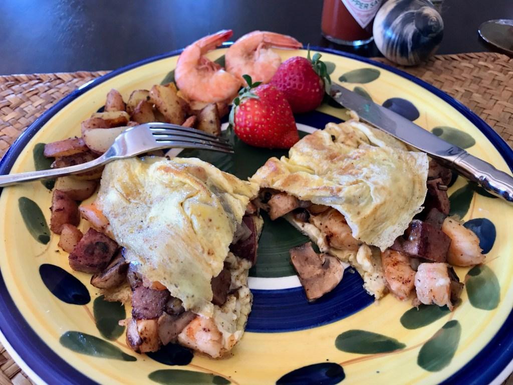 Shrimp boil omelet