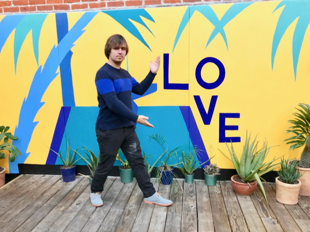 Thomas Wenglinski at the LOVE sign in NOLA