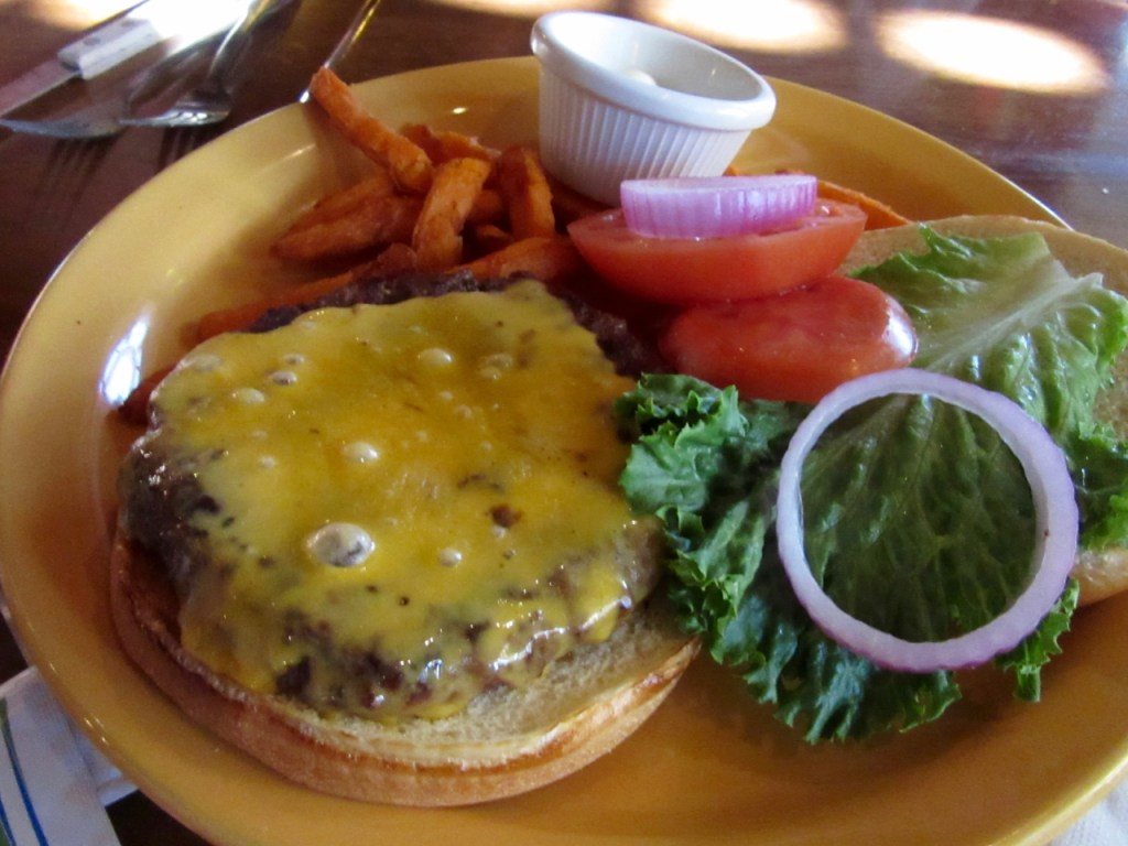Classic cheddar burger at The Greenhouse in Denton, TX - with garden vegetables, of course